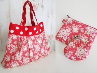 【SALE!】送料無料 グラニートートバッグ 赤花柄&がま口・フラットファスナーポーチセットの画像