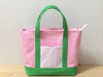 【動画あり】春色♪ ピンク×グリーン ファスナー付き☆帆布トートバッグ 裏地ピンク×水色ストライプ の画像