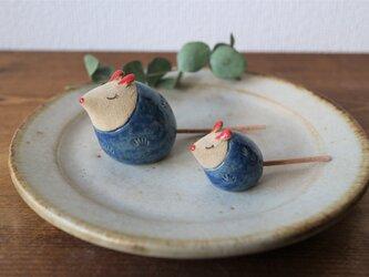 ネズミの置物 ( ちび・青色 )の画像