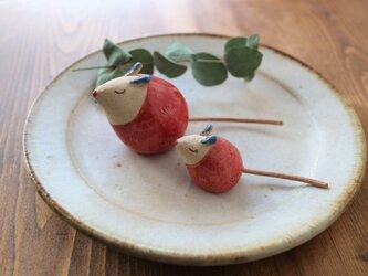 ネズミの置物 ( ちび・赤色 )の画像