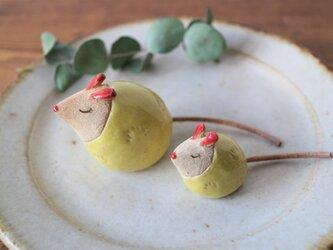 ネズミの置物 ( ちび・黄色)の画像