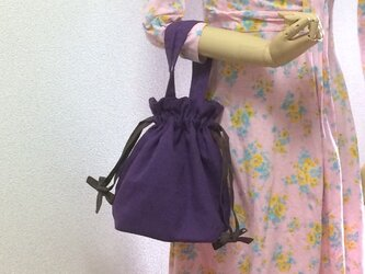 パープル 11号帆布 使いやすい巾着バッグ シャンブレー紐リボンの画像