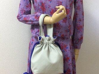 おしゃれな配色!!ライトグレー×ブルー紐リボン 11号帆布 使いやすい巾着バッグ の画像