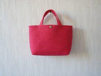 裂き織りのバッグS  ピンクの画像