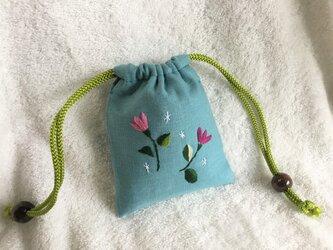 ミニ巾着・ブルー ~花柄 b~の画像