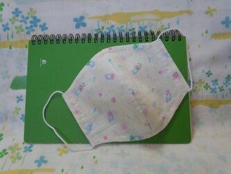 【手縫い】Wガーゼ立体マスク16×13㎝☆少女&小花柄☆レモン色☆裏地手ぬぐい地☆プチギフトの画像
