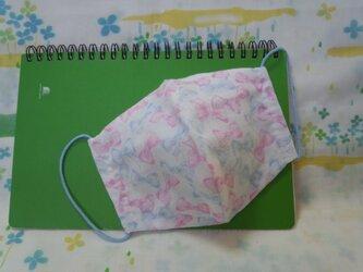 【手縫い】Wガーゼ立体マスク16×13㎝☆手書き風リボン柄☆ピンクと水色☆裏地手ぬぐい地☆プチギフトの画像