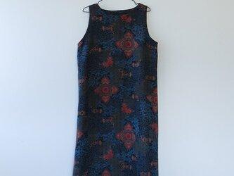 K様ご予約品*アンティーク着物*抽象花葉模様着物のワンピース(Lサイズ)の画像