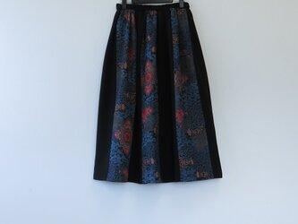 M様ご予約品*アンティーク着小物*抽象花葉模様着物のパッチスカート・スヌードセット(裏地つき)の画像