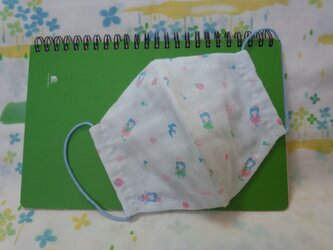 【手縫い】Wガーゼ立体マスク16×13㎝☆少女&小花柄☆水色☆裏地手ぬぐい地☆プチギフトの画像