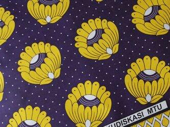 アフリカ布『カンガ』 パンジー × イエロー フラワーの画像