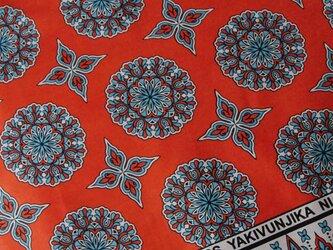 アフリカ布『カンガ』 ルージュ・オレンジ フラワーの画像