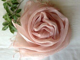 再出品【そよご染め】コットン&シルクストール(A)灰桜色 の画像
