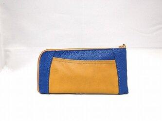 本革ハーフラウンド型 長財布(ブルー×キャメルコンビ)【一点物】の画像