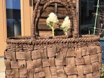【国産皮使用】山葡萄(やまぶどう/山ぶどう)のカゴバック 畳編み 極太(85)の画像