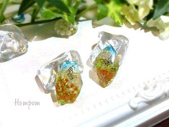 お花と青空と蝶々のピアス ホムポムの画像
