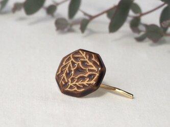 陶器のポニーフック 『飴釉の葉』の画像