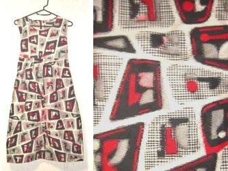 着物リメイク♪モザイク模様が素敵な銘仙チュニックワンピース♪ハンドメイド・ラブリーカラーの画像