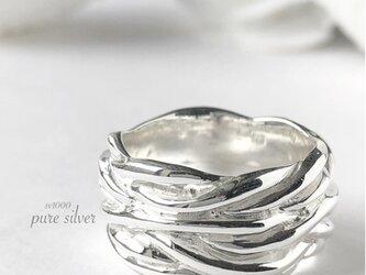 送料無料✴︎ずっしりデザインリング 純銀  purecubicの画像