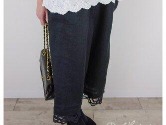 【即納】ヨーロッパブラックリネンピンタックバテンレース半端丈パンツ**卒園 卒業 入学式 フォーマル 冠婚葬祭の画像