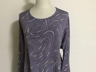 0224    着物リメイク M~L寸法の七分袖コクーンワンピース  錦紗の画像