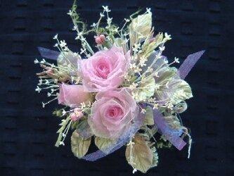 ミニ薔薇の花束 モダンピンク*シルクオーガンジー製*コサージュの画像