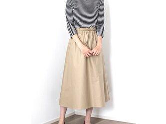 綿ギャバジン ギャザーフレアロングスカート【着丈・ウエスト調節可】の画像