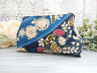 ◆かすり菊梅流し和柄のがま口ポーチ*浴衣着物ブルー青花柄旅行やプレゼントにの画像