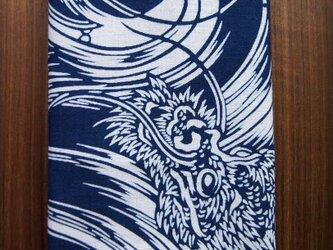 天然藍の型染め手拭い 雲龍の画像