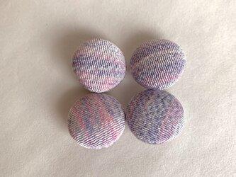 絹手染くるみボタン4個(薄紫ピンク・18mm)の画像