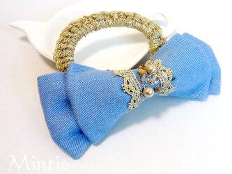 再値下げ【SALE】リボンのシュシュブレス(ブルー)の画像