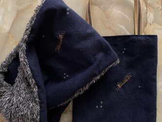 スヌード&ミニバッグ 星とキジトラたちの画像