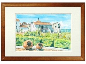 世界で1枚の絵 水彩画原画「志摩地中海村」の画像