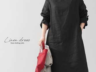 【wafu】中厚 リネン ワンピース オフネック ボトルネック スリーブストラップ/ブラック a011c-bck2の画像