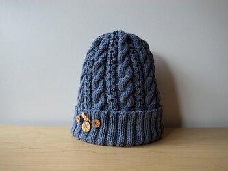 紺青色のコットンウールのニット帽の画像