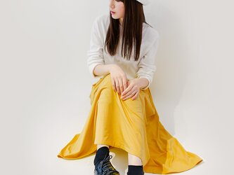 年間OK! サフランイエロー 上質なカットソー素材 ロングスカート ●ADELE-SAFFRON●の画像