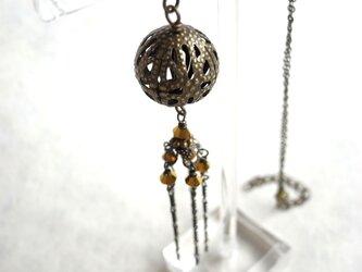 ネックレス 手毬の様なアジアン透かしビーズ 真鍮古美の画像