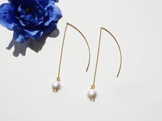 コットンパール ピアス Sweet White Cotton Pearl earrings P0038の画像