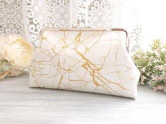 ◆ゴールドラインの大理石がま口ポーチ白*石パワーストーン旅行やプレゼントにの画像