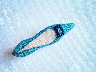 shoe shoe shoe刺繍ブローチNo.78(ブルー)の画像