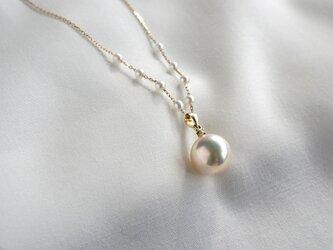 湖水真珠パールネックレス ダイヤモンド K18YGの画像
