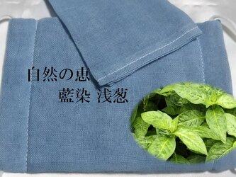草木染 増量ガーゼ付 ガーゼマスク 藍 浅葱の画像