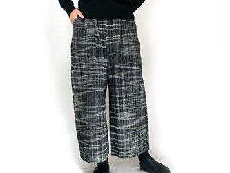 柔らか手織綿のロングパンツ、チェック柄ブラック&ホワイトの画像