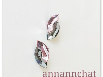 【 スワロフスキー Eclipse 2色 ブラックダイヤモンド&ライトローズ ピアス】ピンク 黒 17㎜の画像