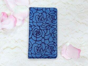 カメリア バンドレス ブルー ツバキ 薔薇 手帳型ケース 全機種対応 iPhoneの画像