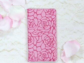カメリア バンドレス ライトピンク ツバキ 薔薇 手帳型ケース 全機種対応 iPhoneの画像