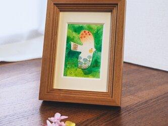 水彩原画『草色の丘青花鳥』日々を愉しむちいさな絵 額装品の画像
