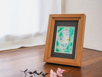 水彩原画『雨粒鳥』日々を愉しむちいさな絵 額装品の画像