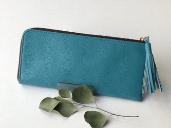 新作!【マリンブルー】ゴートレザーのスリムな長財布 の画像