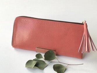 新作!【ベゴニアピンク】ゴートレザーのスリムな長財布 の画像